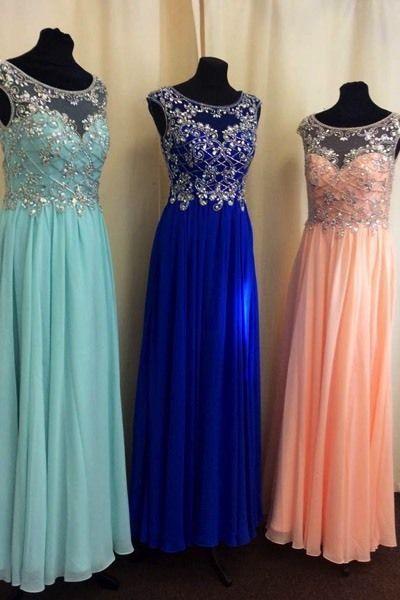 Charing Prom Dress,Long Prom Dress,Chiffon Evening Dress,Evening Gown,Prom