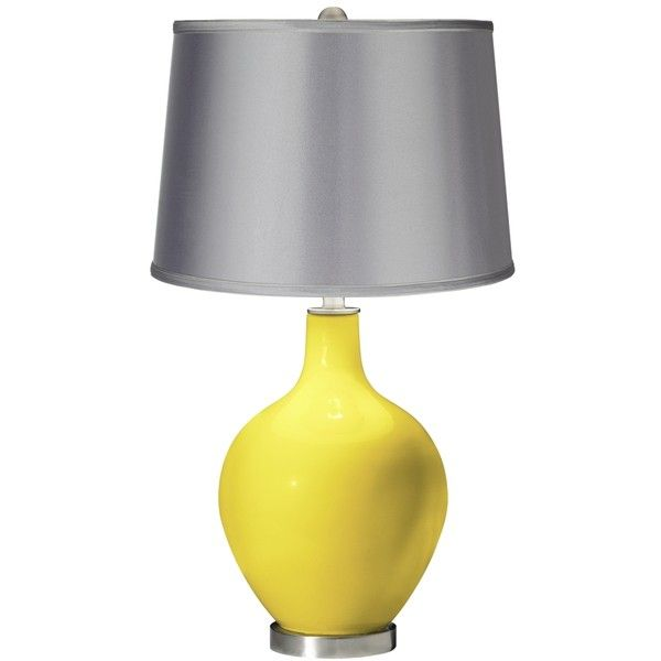 Lemon Twist   Satin Light Gray Shade Ovo Table Lamp ($140) ❤ Liked On