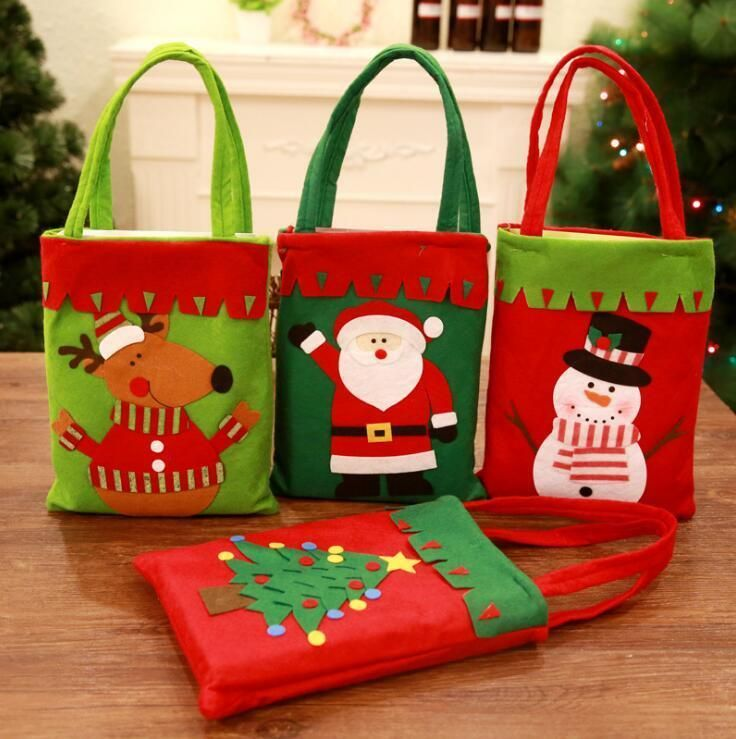 Santa Claus For Children Gifts Bag Non Woven Receive Cartoon
