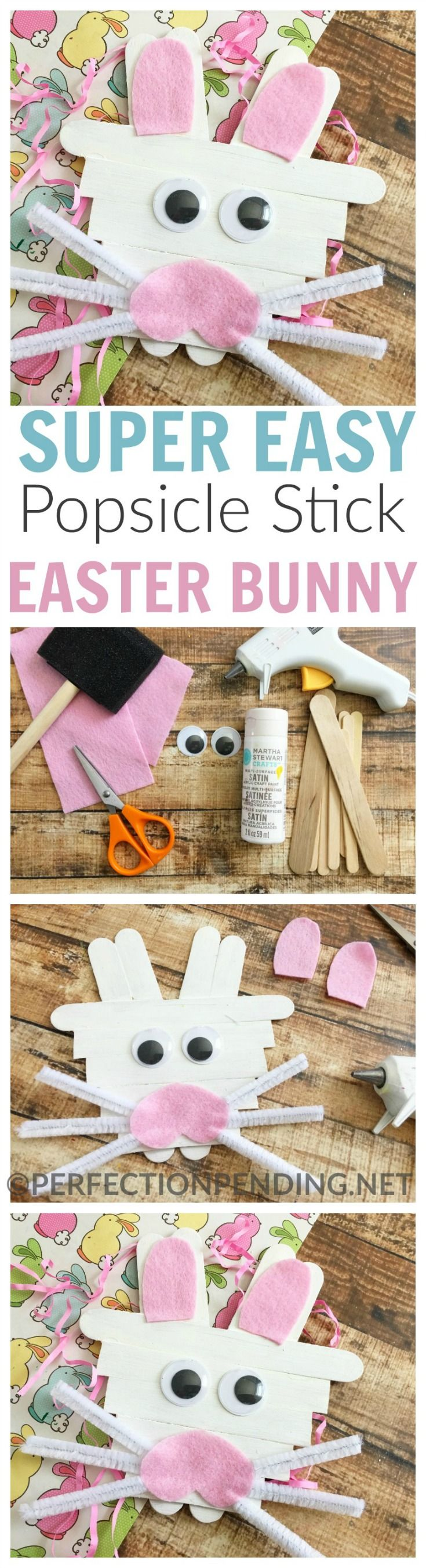 Easter is the perfect time to make an easy popsicle stick bunny craft with your kids. This easy kid craft for Easter uses popsicle sticks, felt, and other craft supplies that you probably already have on hand. If you're looking for a simple Easter craft that even your preschoolers can do, then this is it!