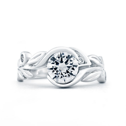"""Fusion"" diamond engagement ring with nature-inspired band, available by special order at Greenwich Jewelers"