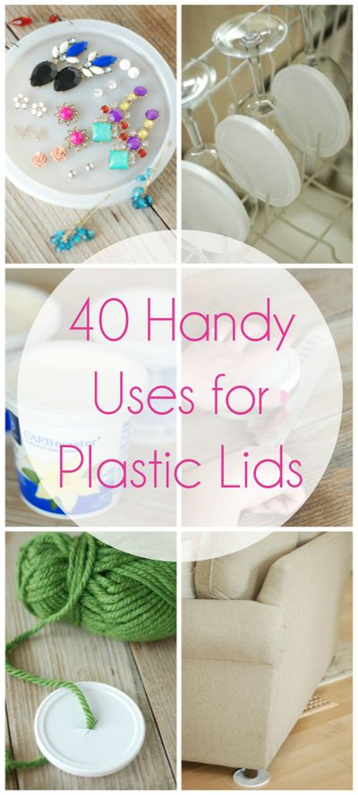Do you have a collection of plastic lids rattling around your kitchen like I do? It's still a mystery how I end up with so many lids....but I've figured out how to solve the problem....reuse them! Here are 40 handy suggestions!