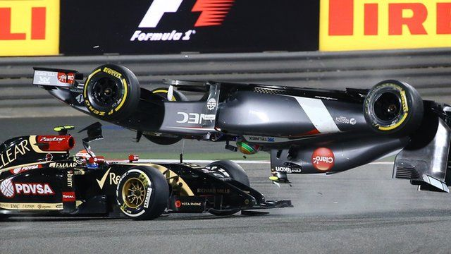 The safety car was triggered by a dangerous collision between the Sauber of Esteban Gutierrez and Lotus' Pastor Maldonado. Gutierrez was turning through Turn One when Maldonado, who was coming out of the pits, smashed into the side of the Swiss car, sending it into a barrel-roll.