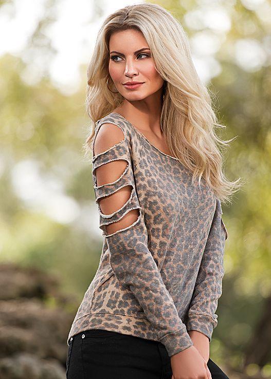 Leopard print sweatshirt from VENUS. Sizes XS-XL!