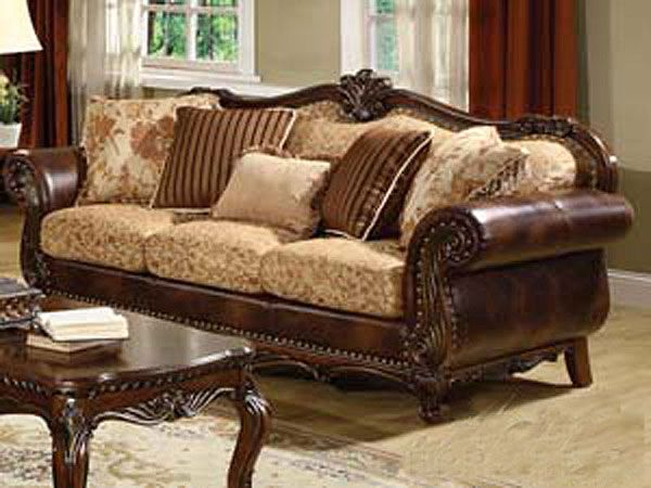 Elegance And Comfort Are Brought To Life In The Remington Traditional Bonded Leather And Fabric Sofa Acme Furniture Elegant Style And Traditional Design