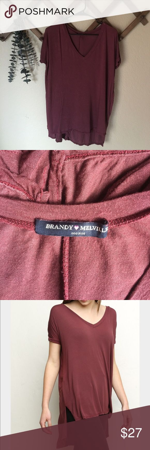 Brandy Melville Milan top V neck Milan top / great condition / one size / maroon / Brandy Melville Brandy Melville Tops Tunics