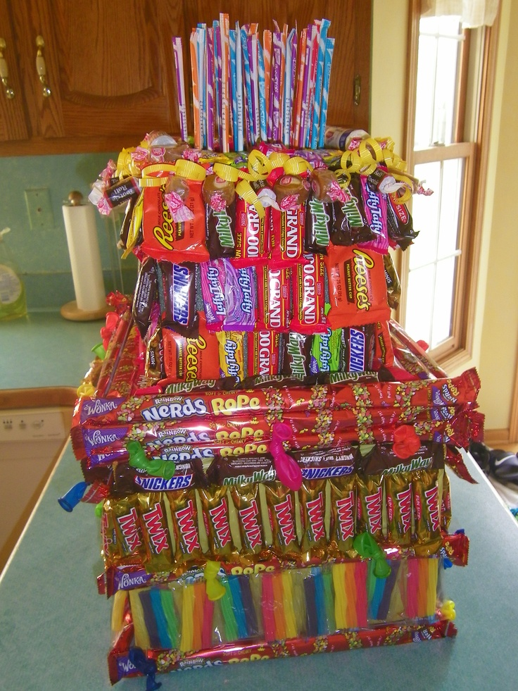 Candy Birthday Cake!  50 Pixie sticks on top to celebrate a 50th birthday.