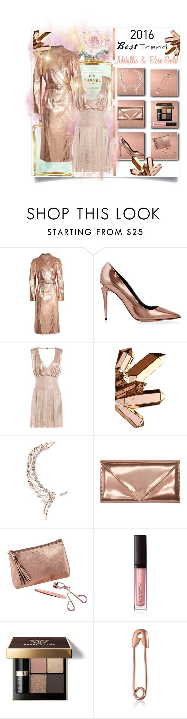 """""""My Favorite 2016 Fashion Trend...""""Metallic & Rose Gold"""" by onesweetthing ❤ liked on Polyvore featuring Chanel, Lanvin, Alexander Wang, Hervé Léger, Cristina Ortiz, Tweezerman, Laura Mercier and Bobbi Brown Cosmetics"""
