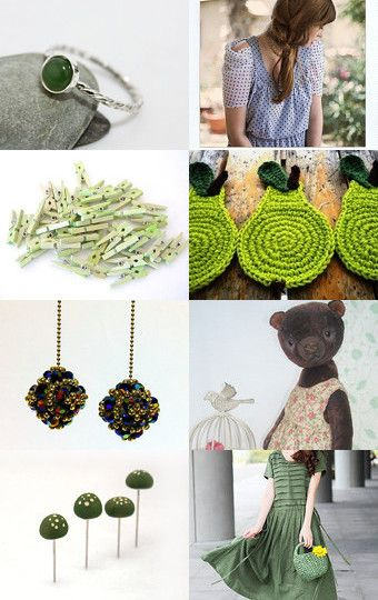 Green pear by Eva Miller on Etsy--Pinned with TreasuryPin.com