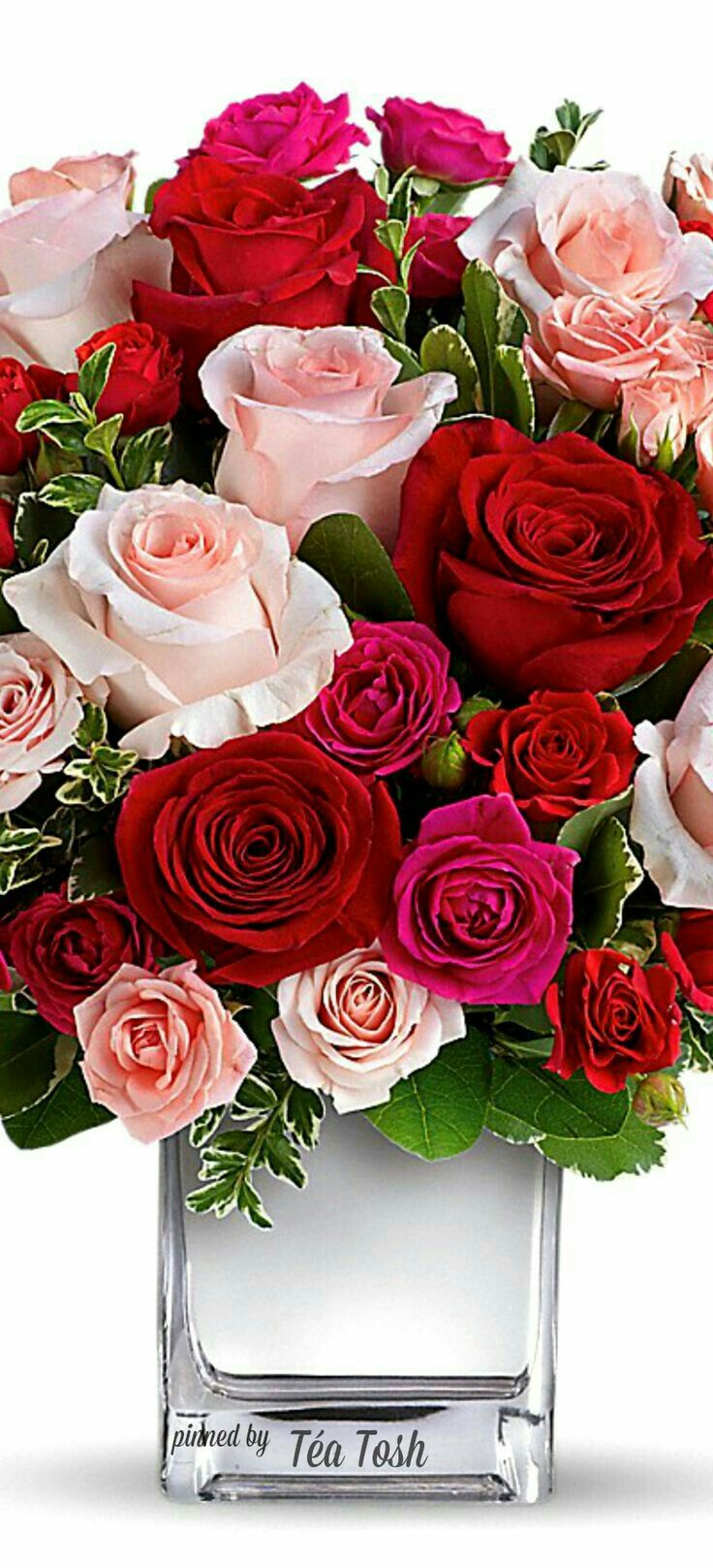 Tea ToshLOVE Medley Bouquet W Red Roses Thank You For The Beautiful Love