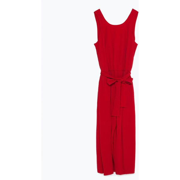 Zara Fancy Cropped Jumpsuit (4.590 RUB) via Polyvore featuring jumpsuits, dark red, white jump suit, fancy jumpsuits, white jumpsuit, jumpsuits & rompers и white dressy jumpsuits