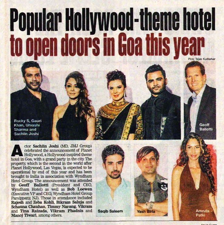 Planet Hollywood Hotel, to open in Goa. Gauri Khan, the interior designer for the project, was present at the announcement party.
