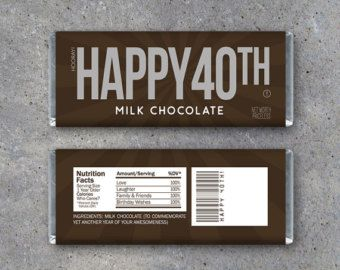HAPPY 40TH Candy Bar Wrappers – Printable Instant Download – Happy 40th Birthday Hershey's Candy Bar Wrappers – Use as a gift or gift tag!