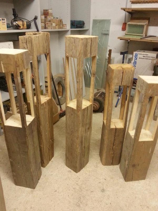Laterne aus holz selber bauen - Baumstamm deko laterne ...