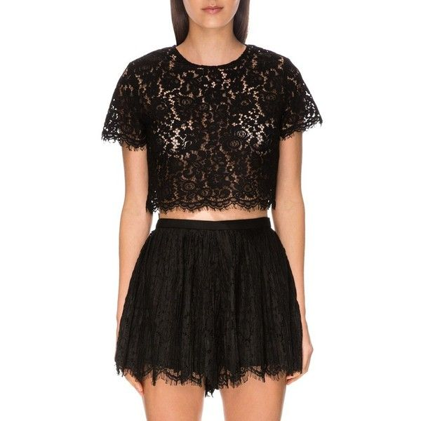 Keepsake the Label 'Let it Happen' Lace Crop Top ($140) ❤ liked on Polyvore featuring tops, black, sheer lace top, keyhole top, base layer top, boxy crop top and keyhole crop top