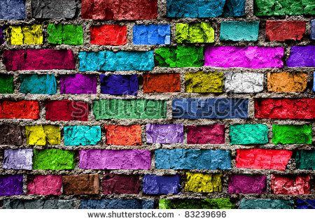 Rainbow colourful brick wall (background)