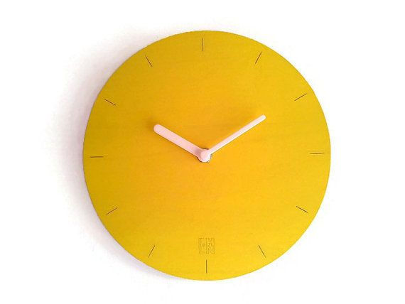 If you like it, buy it! Baua is a laser cut wood minimalist wall clock for any room.  You can choose this simple wall clock in one of many available colors: black,white, gray, yellow, red, red bor... #wallclock #modernclock #modernmirror #tableclock #homedecor