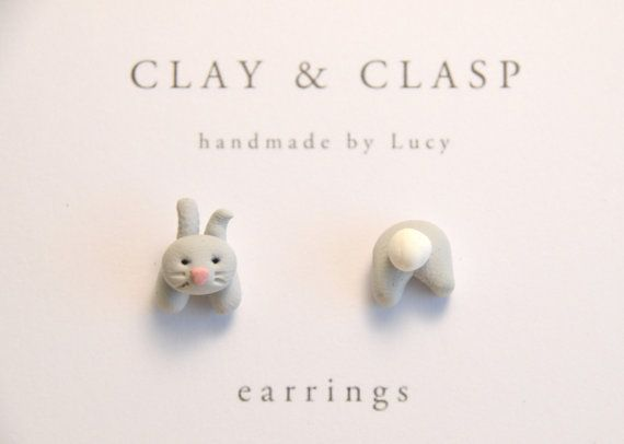Grey bunny rabbit mismatch head and tail earrings  by ClayandClasp, $20.00