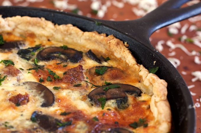 Sausage, Mushroom, and Spinach Quiche