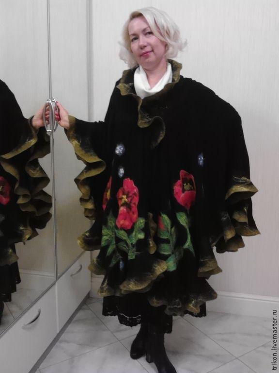 """Купить Пончо """"Маковая стихия"""""""" - черный, цветочный, маки, пончо, пальто женское, пальто"""