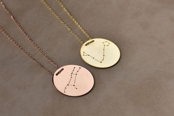 14K Solid Gold Necklace, Zodiac Constellation Necklace, Custom Zodiac Sign, Astrology Necklace, Disk Necklace, Zodiac Jewelry, Birthday Gift
