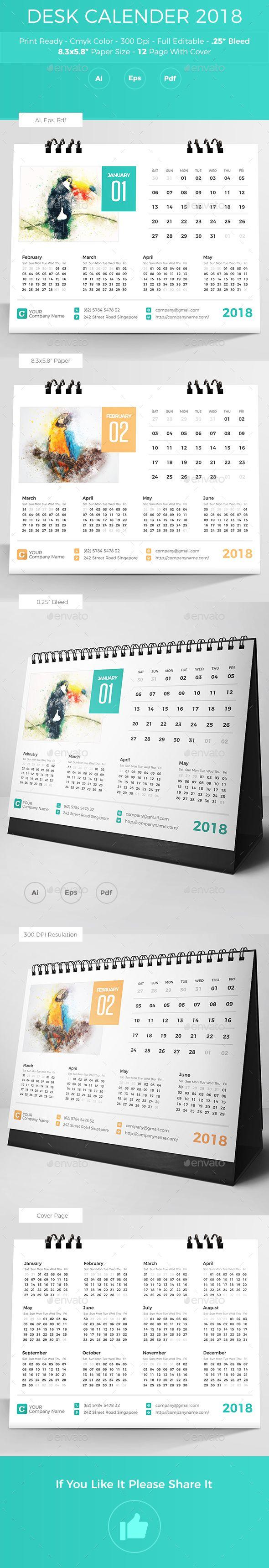 #Desk Calender 2018 - #Calendars Stationery