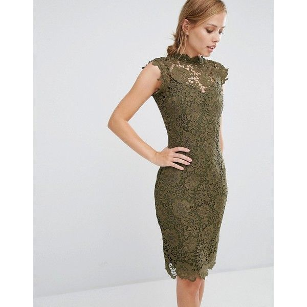 Paper Dolls Allover High Neck Lace Dress ($88) ❤ liked on Polyvore featuring dresses, green, high neck cocktail dress, scalloped lace dress, cap sleeve dress, green lace dress and paper dolls dresses