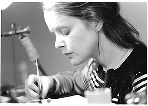 At the goldsmith table. Karina Bach-Lauritsen