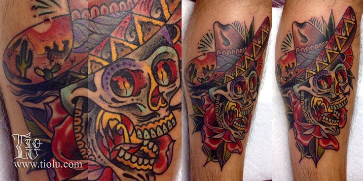 Done at Enigma tattoo Montreal sugar-skull-with-sombrero.jpg 1,279×640 pixels