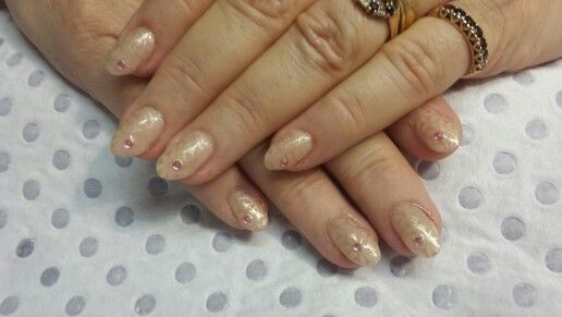 Pale pink with all over gold pattern stamp & pink diamonte's
