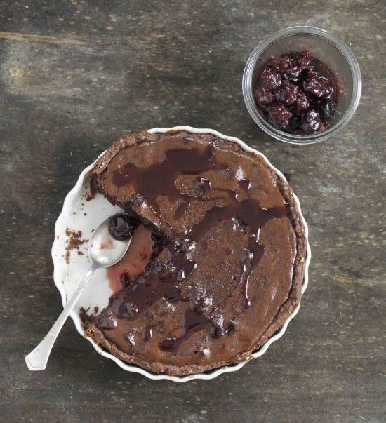 {chocolate lover's tart with sour cherry filling}