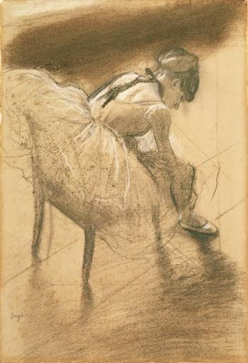 birdsong217: Edgar Degas (1834-1917) Seated dancer rubbing her leg, c.1878. Charcoal and