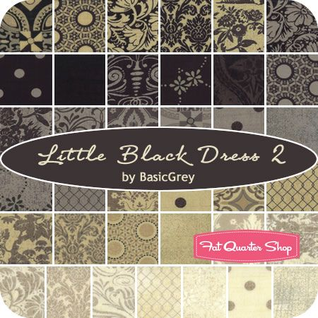 Little Black Dress 2 by BasicGrey for Moda Fabrics A sophisticated compliment to Little Black Dress 1!  Coming to Fat Quarter Shop in January 2014  RE-PIN if you can't wait for Little Black Dress 2 to arrive!
