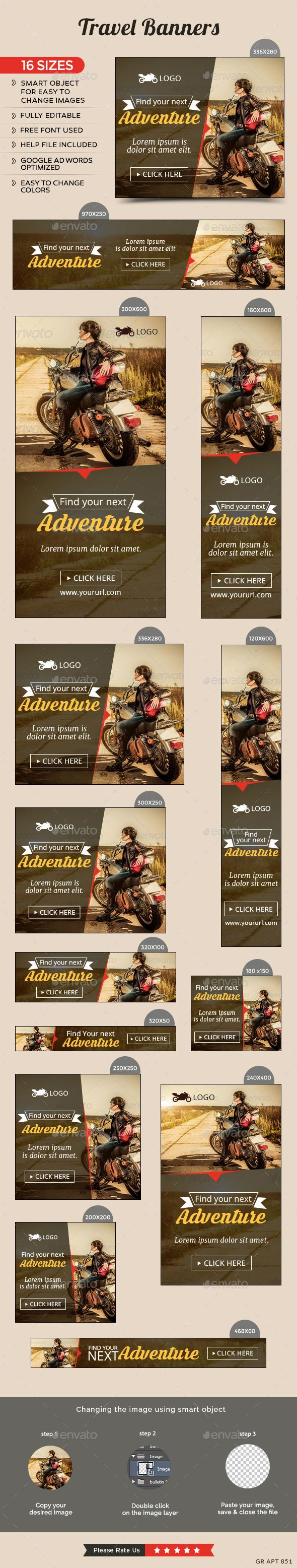 Travel Banners Template #design #web #ads Download: http://graphicriver.net/item/travel-banners/12646348?ref=ksioks