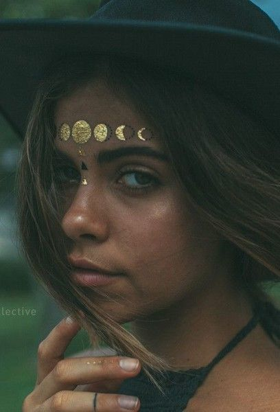 Lunar Phases - Festival Ready Flash Tattoos - Gold and Glamorous Ideas - Photos