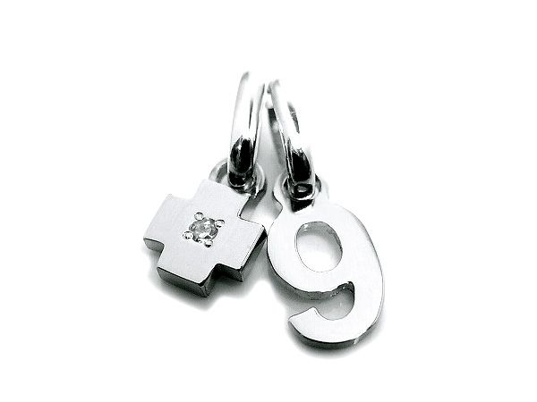 pt900 platinum number 9 pendant charms with birth stone cross charm ナンバー 9 数字 プラチナ 誕生石チャーム all numbers on official online shop(0-9)
