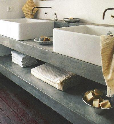 cement countertops and open shelf
