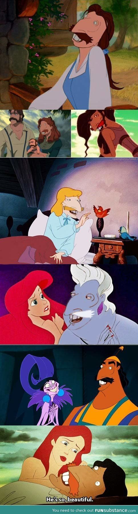 Nigel Thornberry's face on Disney princesses is most likely the most beautifully horrific thing I've seen on the internet.