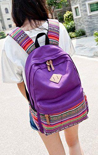 Stripe Canvas School Backpack College Campus Bag Rucksack Satchel Travel Sports Outdoor Travel Gym Bag Schoolbag for Teens Girls Boys Students (Purple)