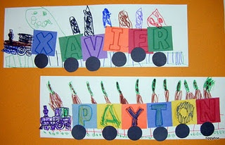 Name trains preschool activity
