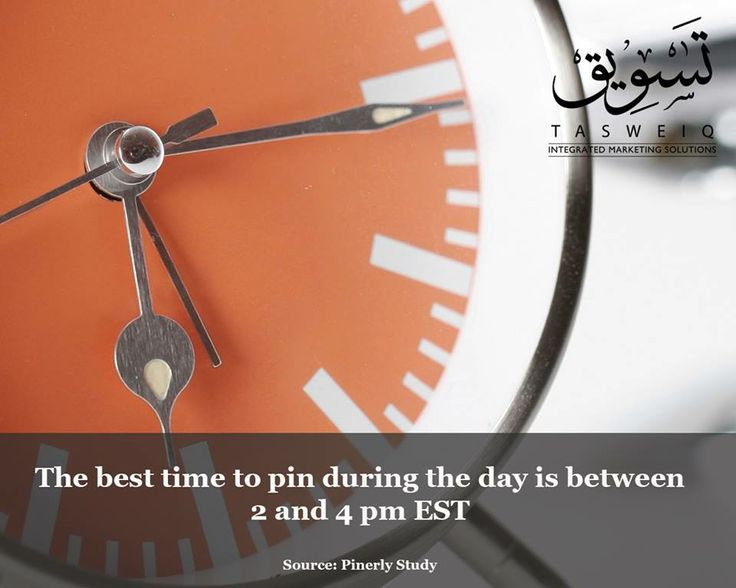 The best time to pin during the day is between 2 and 4 PM EST.  Source: Pinerly Study.