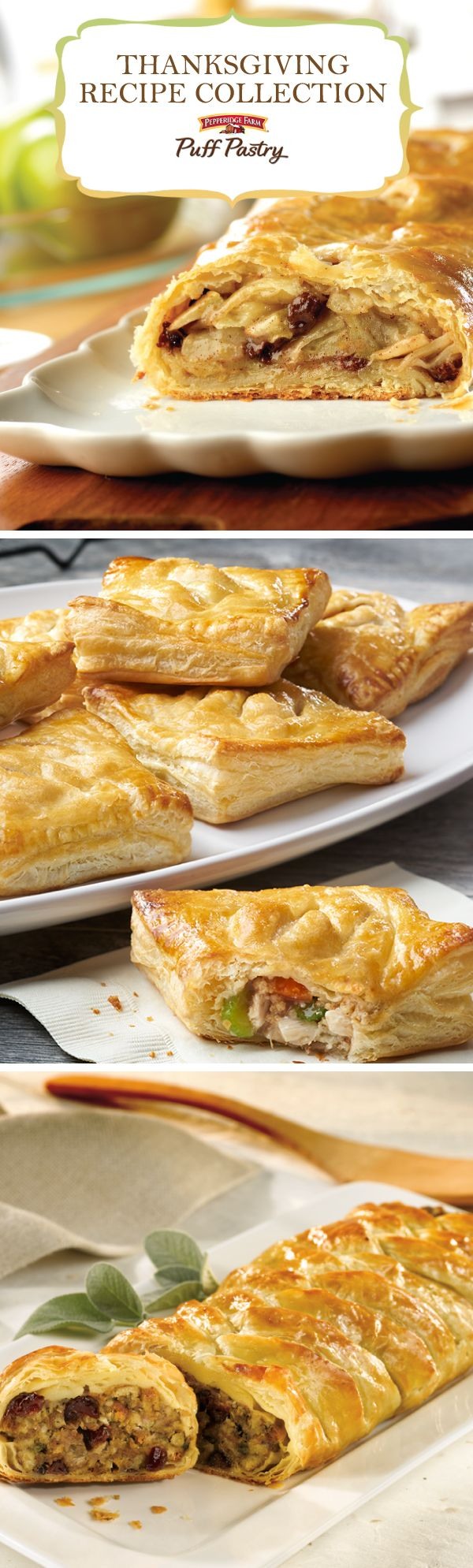 Pepperidge Farm Puff Pastry Thanksgiving Recipe Collection. From appetizers, side-dishes and desserts, to making the most of those fabulous leftovers, this recipe collection will inspire your Turkey Day celebrations. Impress guests with stuffing served in a golden Puff Pastry braid, or add excitement to the dessert table with Hazelnut Chocolate Caramel Blossoms. From traditional favorites to new inspiration, this list will help you plan your big feast.