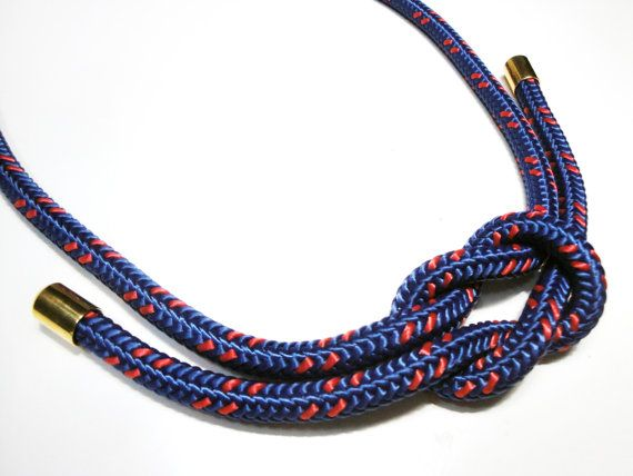 Rope necklace in blue and red with XL square knot