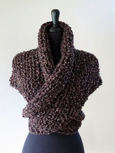 Outlander Inspired Claire's Cape Dark Brown Color Knitted Chunky Boucle Yarn Sassenach Shawl Wrap Stole with Tassels