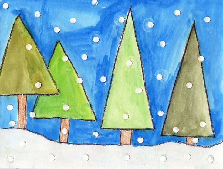Art Projects for Kids: Abstract Winter Trees - have kids mix colors to make different shades of green