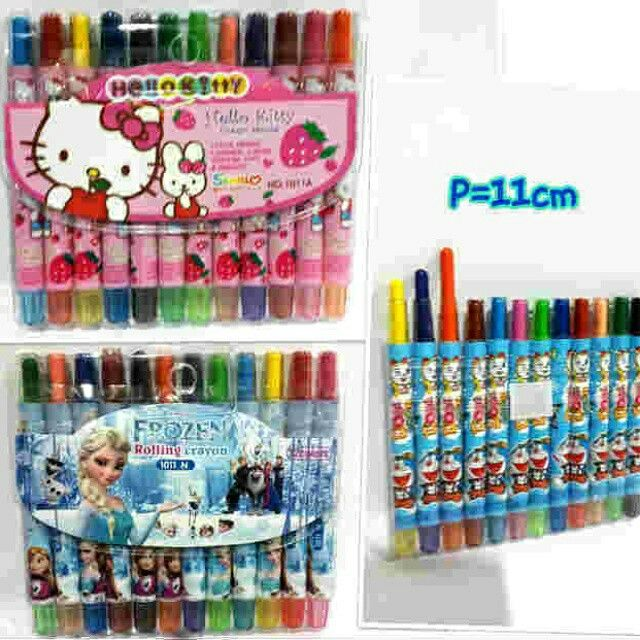 #cucigudang #crayon putar 12 warna #hellokitty  & #doraemon @ 20.000