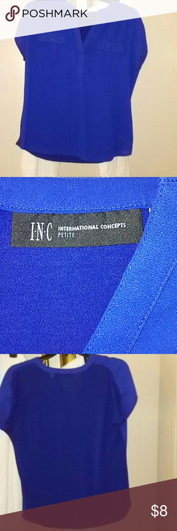 I-N-C Royal blue top Beautiful and in excellent condition. Top is bright Royal blue. Short sleeves. Smoke and pet free home. INC International Concepts Tops Blouses