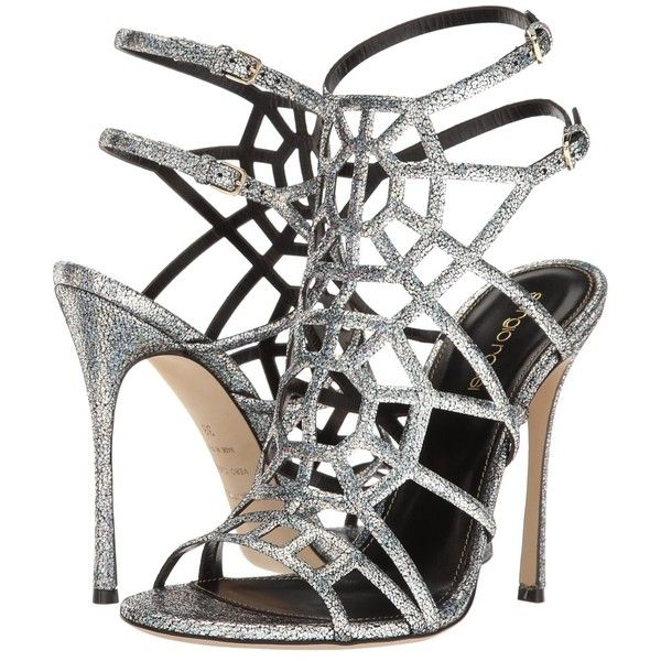 Sergio Rossi Puzzle Basic (Silver Pressed Glitter) High Heels ($570) ❤ liked on Polyvore featuring shoes, sandals, silver high heel shoes, buckle strap sandals, sergio rossi sandals, high heeled footwear and silver shoes
