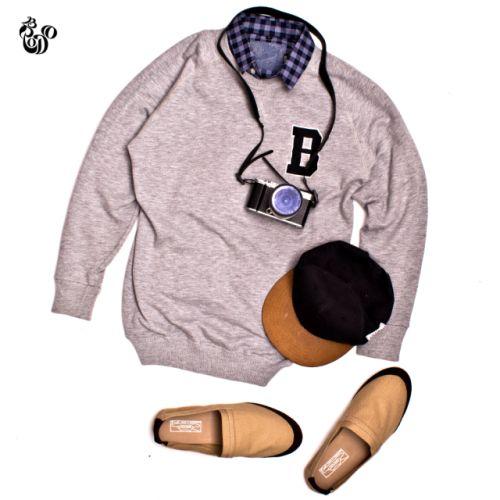 Welington Crewneck Sweater Misty Grey + SS Linen Navy Plaid Shirt + Uno Cream