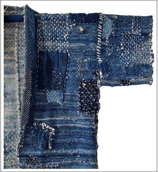 Antique Japanese Indigo Sashiko Sakiori Fisherman's Jacket